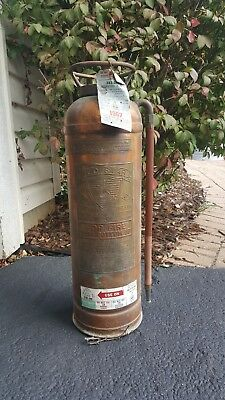 Antique Fire Extinguisher Copper Brass Patina  Detroit RED STAR 303