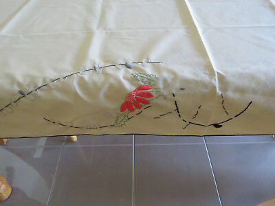 Vintage Traced Table Cloth - Floral  Basket of Flowers - Needs to be completed