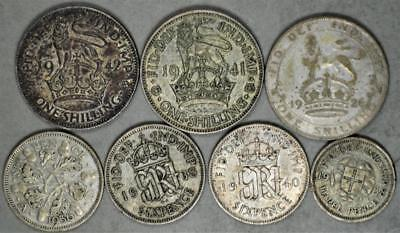 Great Britain Lot of 7 Silver Coins