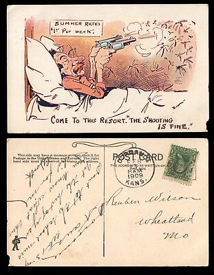 """1909 Comic Postcard - """" Come to This Resort the Shooting Is Fine """""""