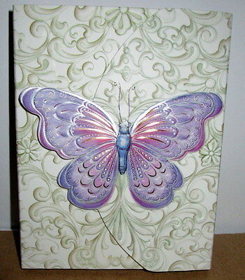 60 Sheet Purse Size Pad With Pocket & Black Ink Ballpoint Pen Butterfly Design!