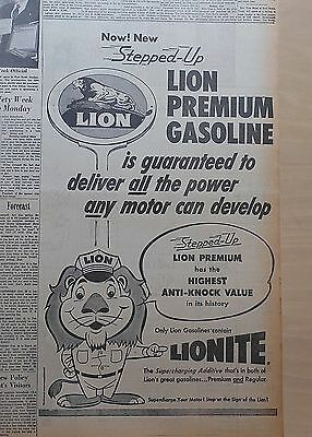 """Large 1957 newspaper ad for Lion Gasoline - Lion mascot, gas now with """"Lionite"""""""