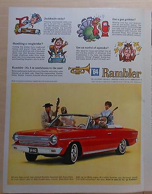 1964 magazine ad for Rambler - red American 440 Convertible & Country band