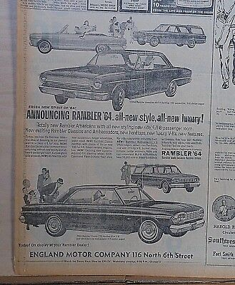 "1963 newspaper ad for Rambler - Fresh new spirit of ""64, All-New Style, Luxury"