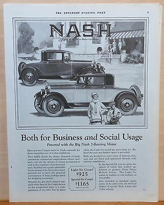 Vintage 1927 magazine ad for Nash - Two Coupes for Business & Social Usage