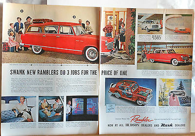 1955 two page magazine ad for Rambler, Colorful photos, Swank Ramblers do 3 jobs