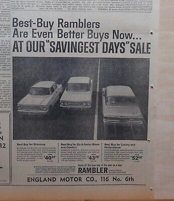 1962 newspaper ad for Rambler - American, Classic, Ambassador Best Buys