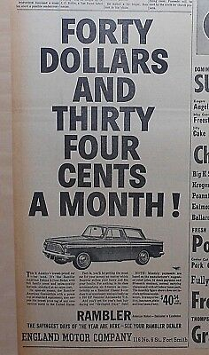 1962 newspaper ad for Rambler - American Deluxe 2-door Sedan, most for the money