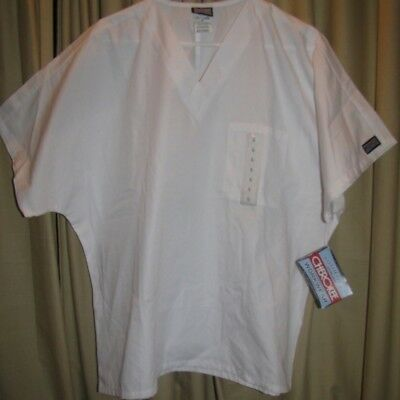 Cherokee Workwear Size L 4777 Unisex Men Women White Scrub Top V-Neck NWT New