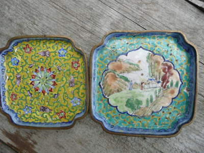 Antique 1920-30's Chinese Footed Enamel Dishes ,