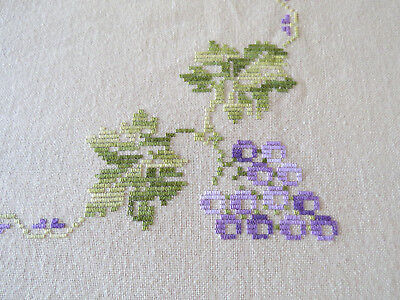 Vintage Very Large Embroidered -Mauve & Green Grapes Table Cloth 304cm by 224cm