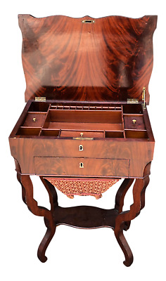 Antique 19th C Flame Mahogany Sewing Table