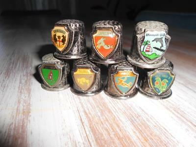 x 8 Vintage Metal Travel & Zodiac THIMBLES Made in JAPAN