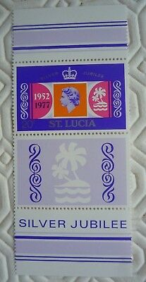 St Lucia Silver Jubilee stamp sheet with 20c stamp (1977)