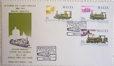 Malta First Day Cover with 3 stamp set - Malta Railway (1983)