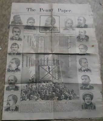1882 newspaper EXECUTION of CHARLES GUITEAU Assassin of President JAMES GARFIELD