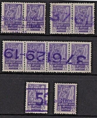 India - Social Security Stamps - Purple Cancels - Super Clean Never Hinged Vfu..