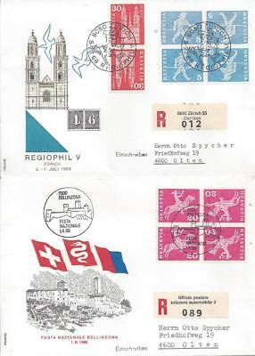 Switzerland 1967-70 5 Special Covers with Tete-Beche (3 scans)