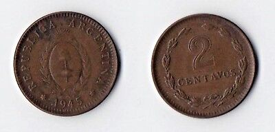 Argentina - 1945 - 2 Centavos - Copper Tone & Shine - Check Carefully