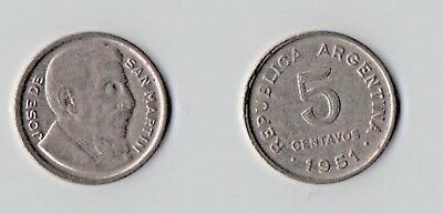 Argentina - 1951 -  5 Centavos - Nice Coin With Full Lustre.
