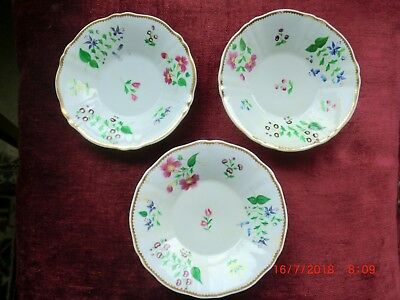 LATE 18TH CENTURY REGENCY ENGLISH SAUCER/BOWL FLORAL DESIGN x 3.
