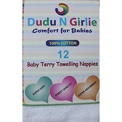 Dudu N Girlie Baby Terry Towelling 100% Cotton Nappies, White, Pack of 12