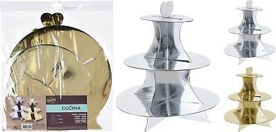 PACK OF 2- 3 Tier Disposable Gold Silver Cardboard Cup Cake Food Stand Cakestand