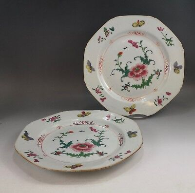 A very fine pair of Chinese 18C famille rose floral plate-Yongzheng
