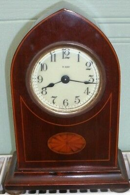 VINTAGE INLAID WOODEN DOME SHAPE MANTEL 8 DAY CLOCK Made in USA ( P.&.J . SAMUEL