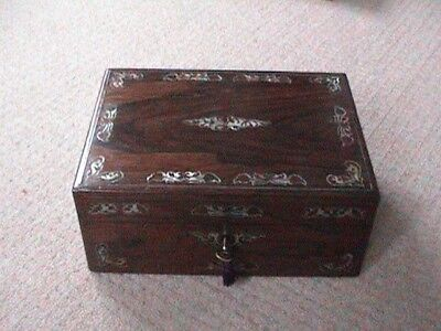 Top Quality Victorian Rosewood / M.o.p. Box For Jewellery, Sewing, Valuables