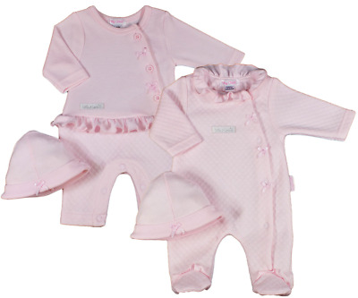 PREMATURE BABY GIRL PINK SLEEPSUIT OR ROMPER WITH HAT - 3-5lb, 5-8lb