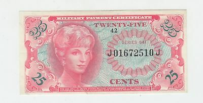 1965 25c Military Payment Certificate (Series 641) SHARP UNC