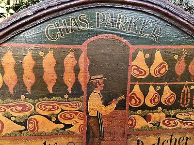 Vintage Butchers Shop Painted Wooden Advertising Sign - 'Chas Parker' Butcher