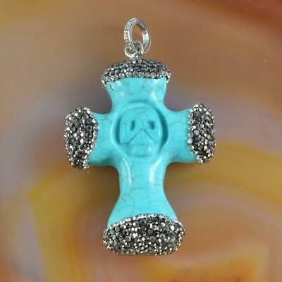 Blue Howlite Turquoise Carved Skull Pave Zircon Pendant Bead H123772