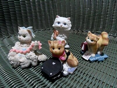 4 Cat Figurines - 3x Calico Kittens & White Kitten w/Pink Bow
