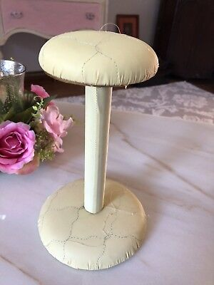 Fabulous Vintage Wood Dome Hat Stand Quilted Leatherette