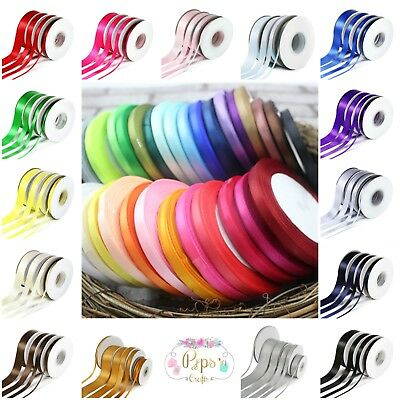 5 Metres Quality Double Satin Ribbon - 3mm 6mm 10mm 15mm 25mm Wide Crafts
