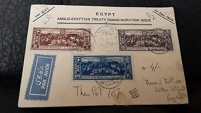 1st Day Cover EGYPT 1936 'ANGLO-EGYPTIAN TREATY' CAIRO SAVOY POSTMARK AIRMAIL