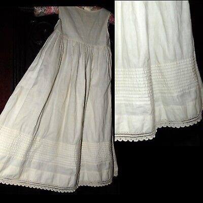 Antique Victorian Beautiful Pleated Crochet Baby or Child Christening Dress tlc