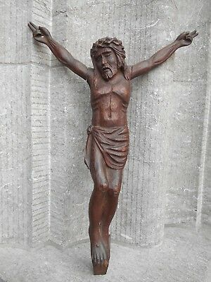 Big Antique Hand Carved Wood Jesus Christ Corpus for Crucifix Altar Wal Hanging