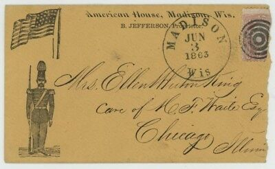 Mr Fancy Cancel 65 CIVIL WAR PATRIOTIC AD COVER AMERICAN HOUSE MADISON WISC 1863