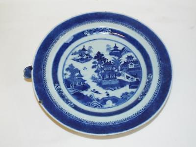 Antique Chinese blue white porcelain warming plate,a/f.
