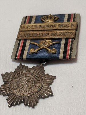 Campaign Ribbon and Bars  with Adornments and Brass  Starburst  PinBack