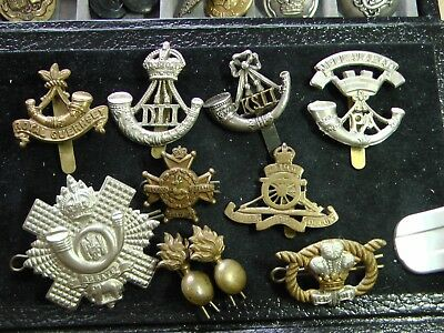MIXED LOT of 10 BRITISH ARMY WWI & WWII HAT BADGES ~ Many Light Infantry