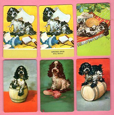 6 Single Swap Playing Cards BUTCH DOGS SPANIEL PUPPIES ONE AD VINTAGE