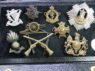 MIXED LOT of 9 BRITISH ARMY WWI/ WWII HAT BADGES Royal Scots, Artillery, Medical