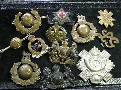 MIXED LOT of 12 DAMAGED WWI/ WWII HAT BADGES, COLLAR INSIGNIA, PATCH & PINS
