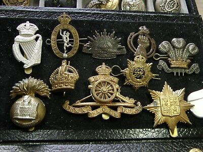 MIXED LOT of 10 BRITISH ARMY WWI & WWII HAT BADGES ~ CHECK IT OUT!!