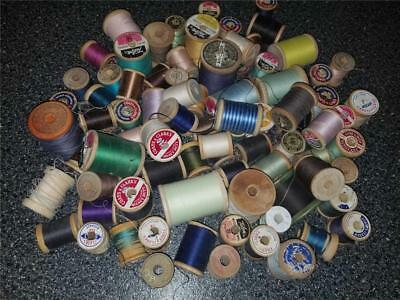 Large Lot 83 Vintage Wooden Thread Spools Various Sizes Colors & Thread Amounts