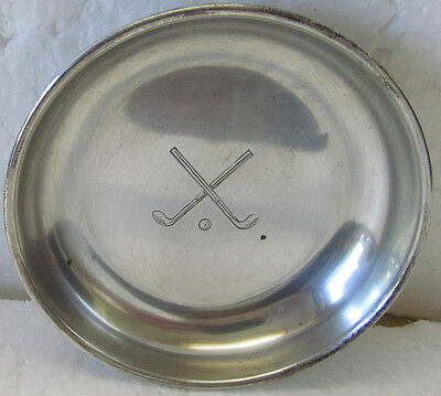 Hallmarked Sterling Silver Ashtray Or Candy Dish With Crossed Clubs  1929
